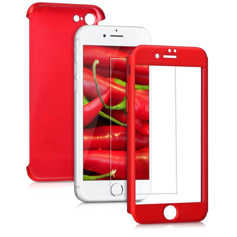 KW Θήκη Full Body για iPhone 8 / 7 & Tempered Glass - Metallic Red (43757.36)