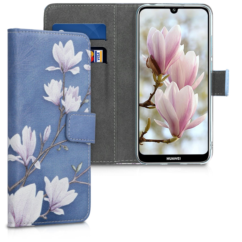 KW Θήκη Πορτοφόλι Huawei Y6 2019 - Taupe / White / Blue Grey (48127.02)