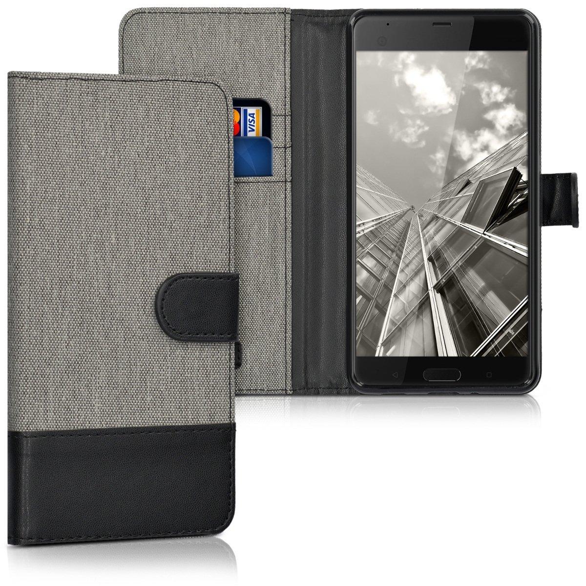 KW Canvas Θήκη - Πορτοφόλι HTC U Ultra - Grey/ Black (40752.22) θήκες κινητών