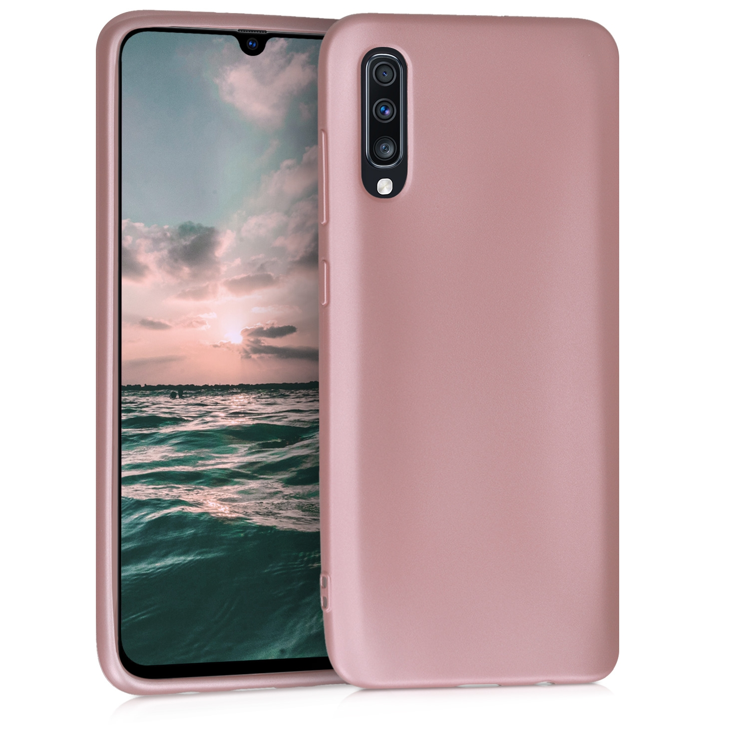 KW Θήκη Σιλικόνης Samsung Galaxy A70 - Metallic Rose Gold - (48430.31)