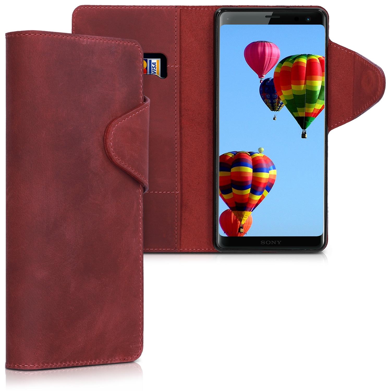 Kalibri Δερμάτινη Θήκη - Πορτοφόλι Sony Xperia XZ3 - Dark Red (45963.20)