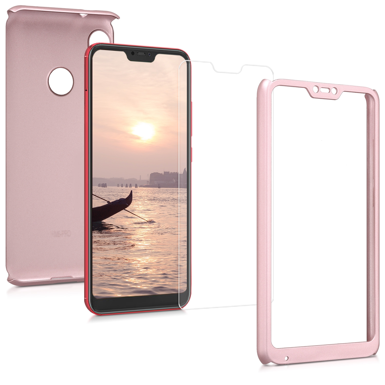 KW Θήκη Full Body για Xiaomi Mi A2 Lite / Redmi 6 Pro & Tempered Glass - Metallic Rosegold (46065.31)