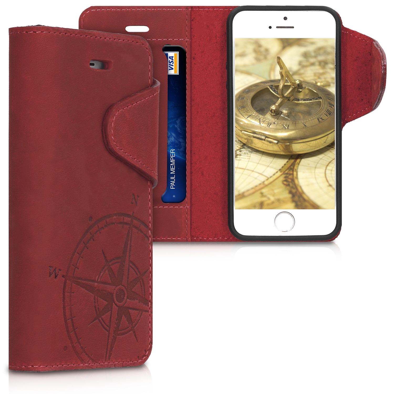 Kalibri Δερμάτινη Suede Θήκη - Πορτοφόλι Apple iPhone SE / 5 / 5S - Dark Red (46746.02)