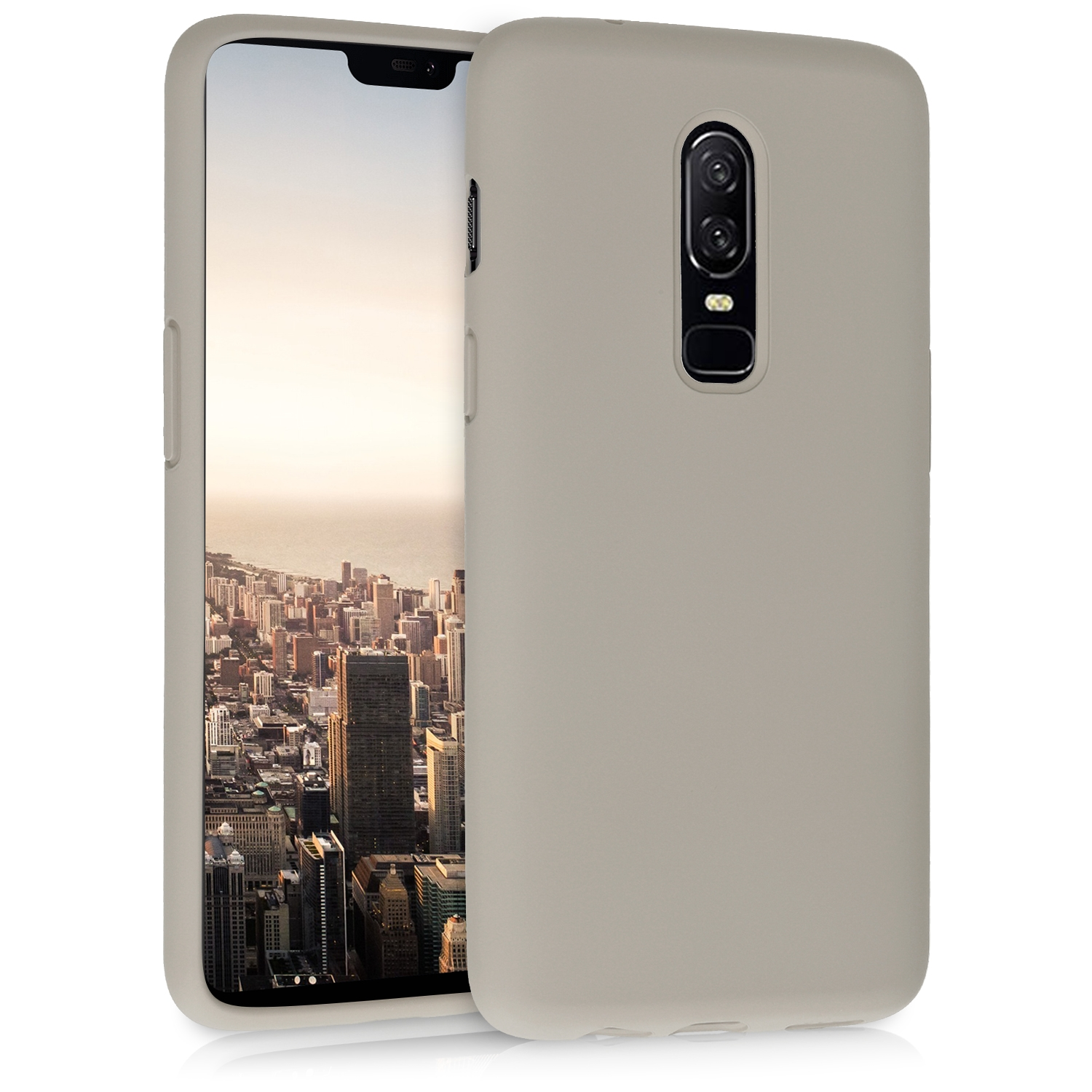 KW Θήκη Σιλικόνης OnePlus 6 - Soft Flexible Rubber Protective Cover - Taupe (46122.43)
