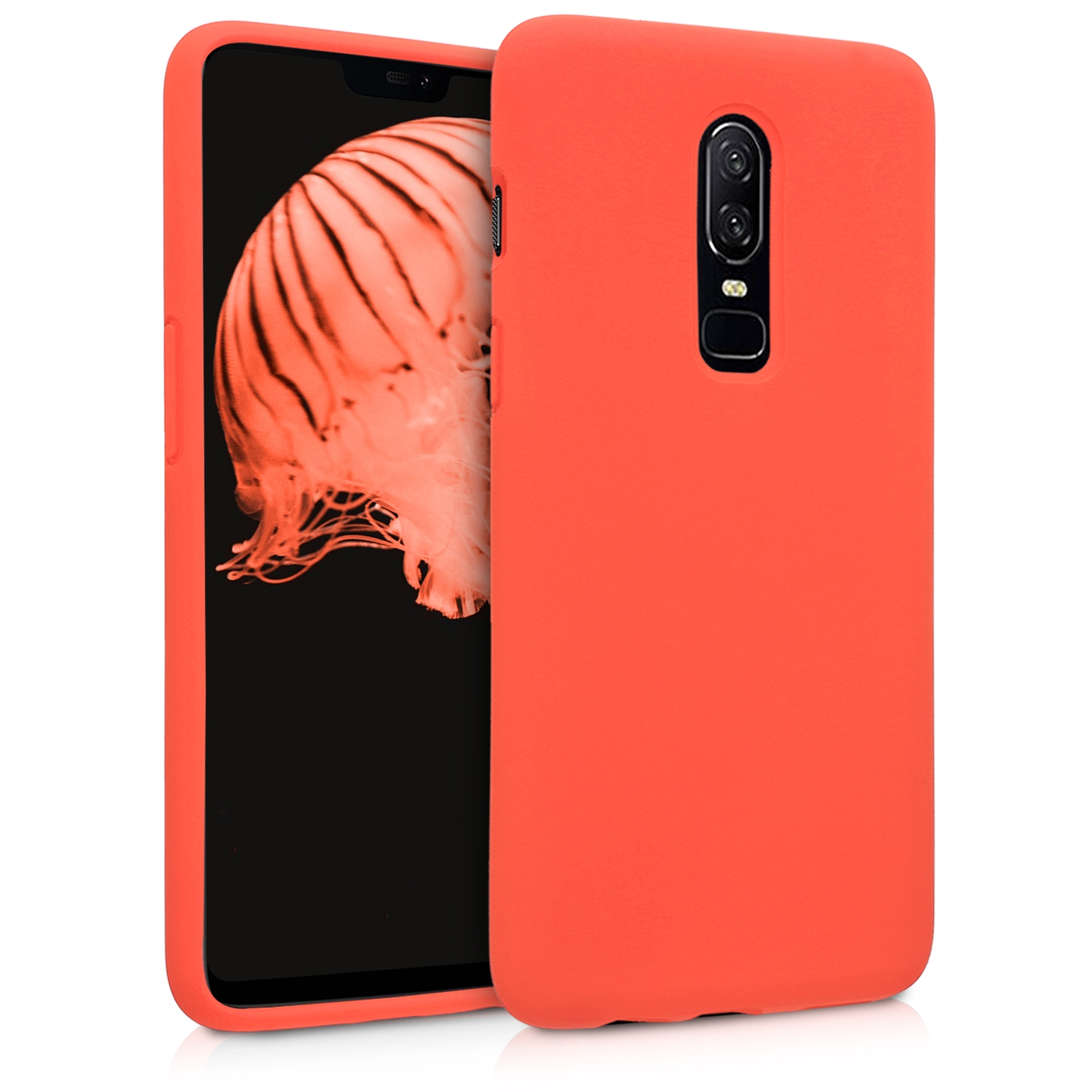 KW Θήκη Σιλικόνης OnePlus 6 - Soft Flexible Rubber Protective Cover - Orange (46122.29)