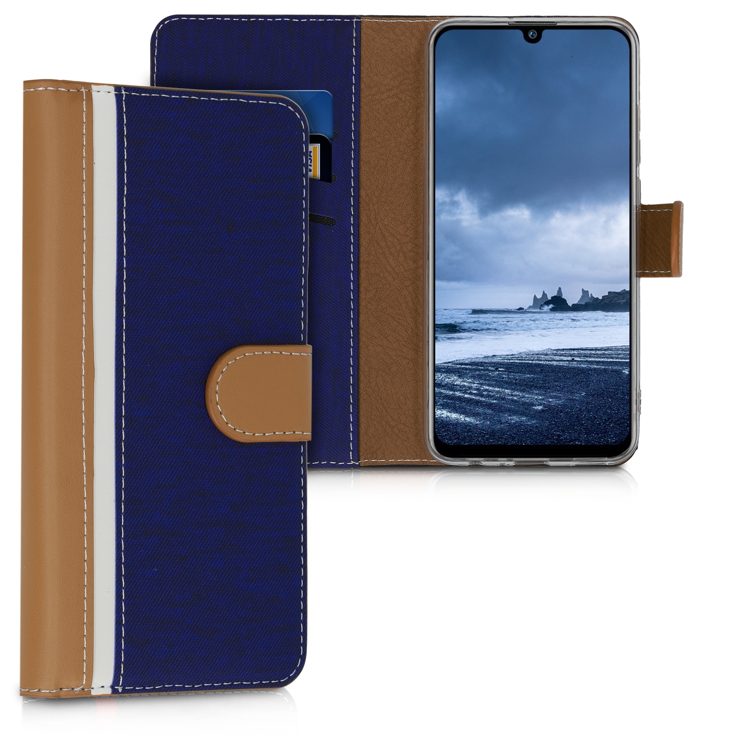 KW Θήκη - Πορτοφόλι Huawei P Smart (2019) - Dark Blue / Brown / White (48420.02)