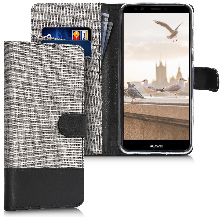 KW Θήκη Πορτοφόλι Huawei Y7/Y7 Prime 2018 - Grey / Black Canvas (44822.02)