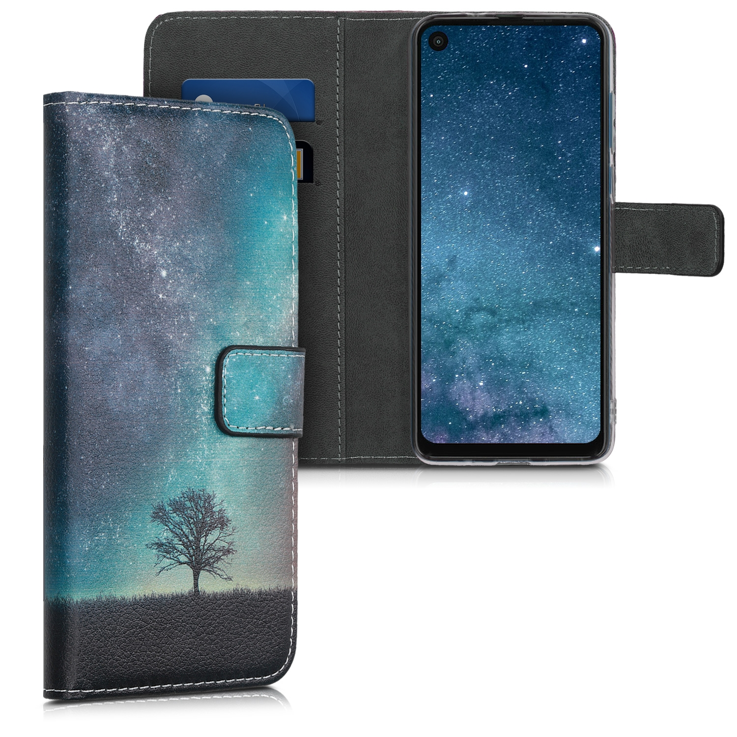 KW Θήκη - Πορτοφόλι Motorola One Vision - Cosmic Nature, Blue / Grey / Black (49519.01)