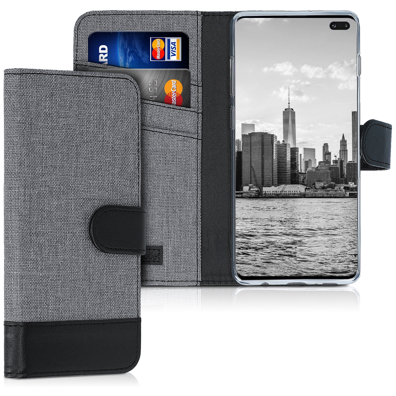 KW Θήκη Πορτοφόλι Samsung Galaxy S10 Plus - Grey / Black Canvas (47457.22)