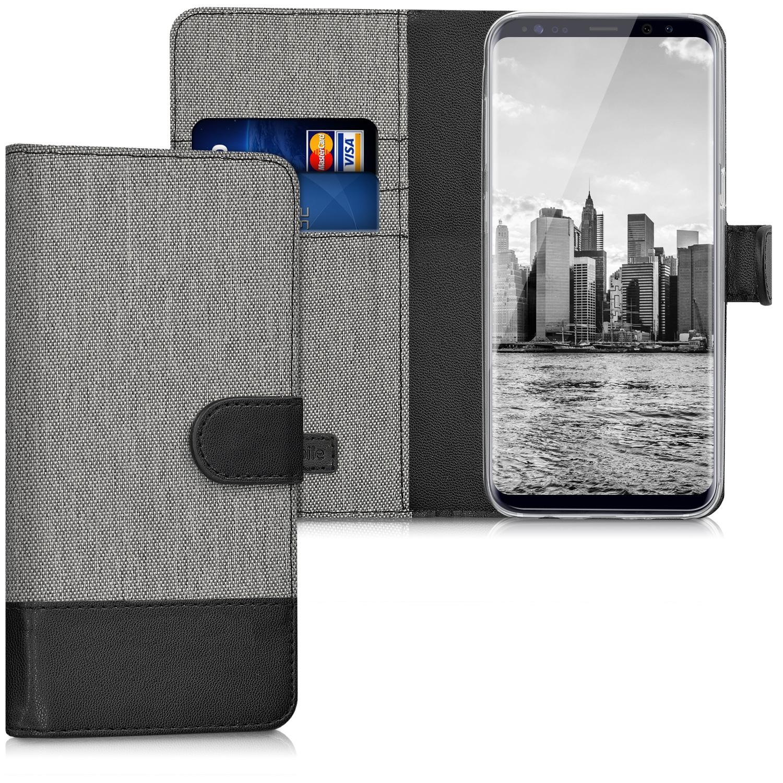 KW Θήκη Πορτοφόλι Samsung Galaxy S8 - Grey / Black Canvas (40984.22)