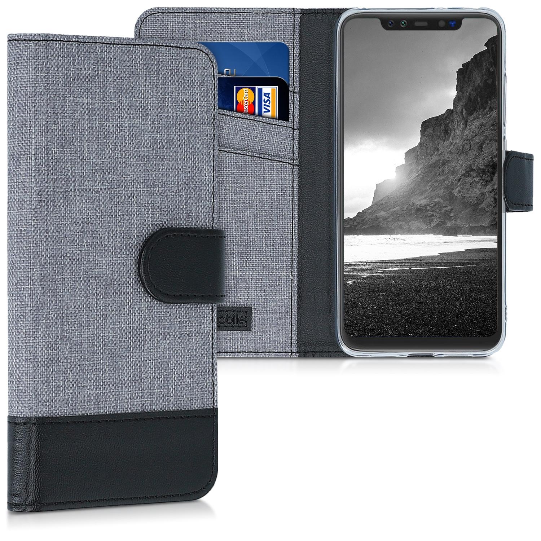 KW Θήκη Πορτοφόλι Xiaomi Mi 8 Pro - Grey / Black Canvas (47474.22)