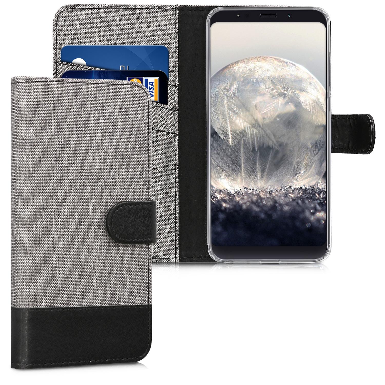 KW Θήκη Πορτοφόλι Xiaomi Redmi Note 5 - Grey / Black Canvas (45447.22)