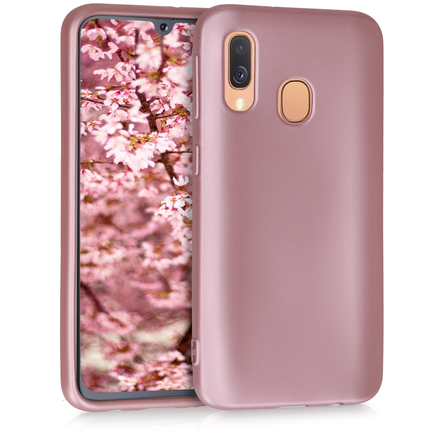 KW Θήκη Σιλικόνης Samsung Galaxy A40 - Metallic Rose Gold (48546.31)