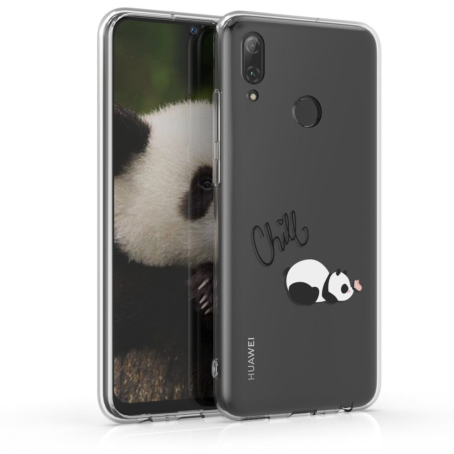 KW Θήκη Σιλικόνης Huawei P Smart 2019 - Black / White / Transparent (47388.11)