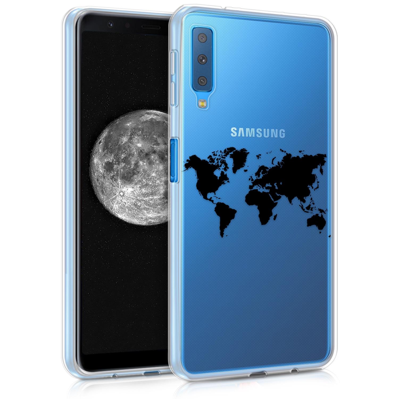 KW Θήκη Σιλικόνης Samsung Galaxy A7 2018 - World Map (46430.02)