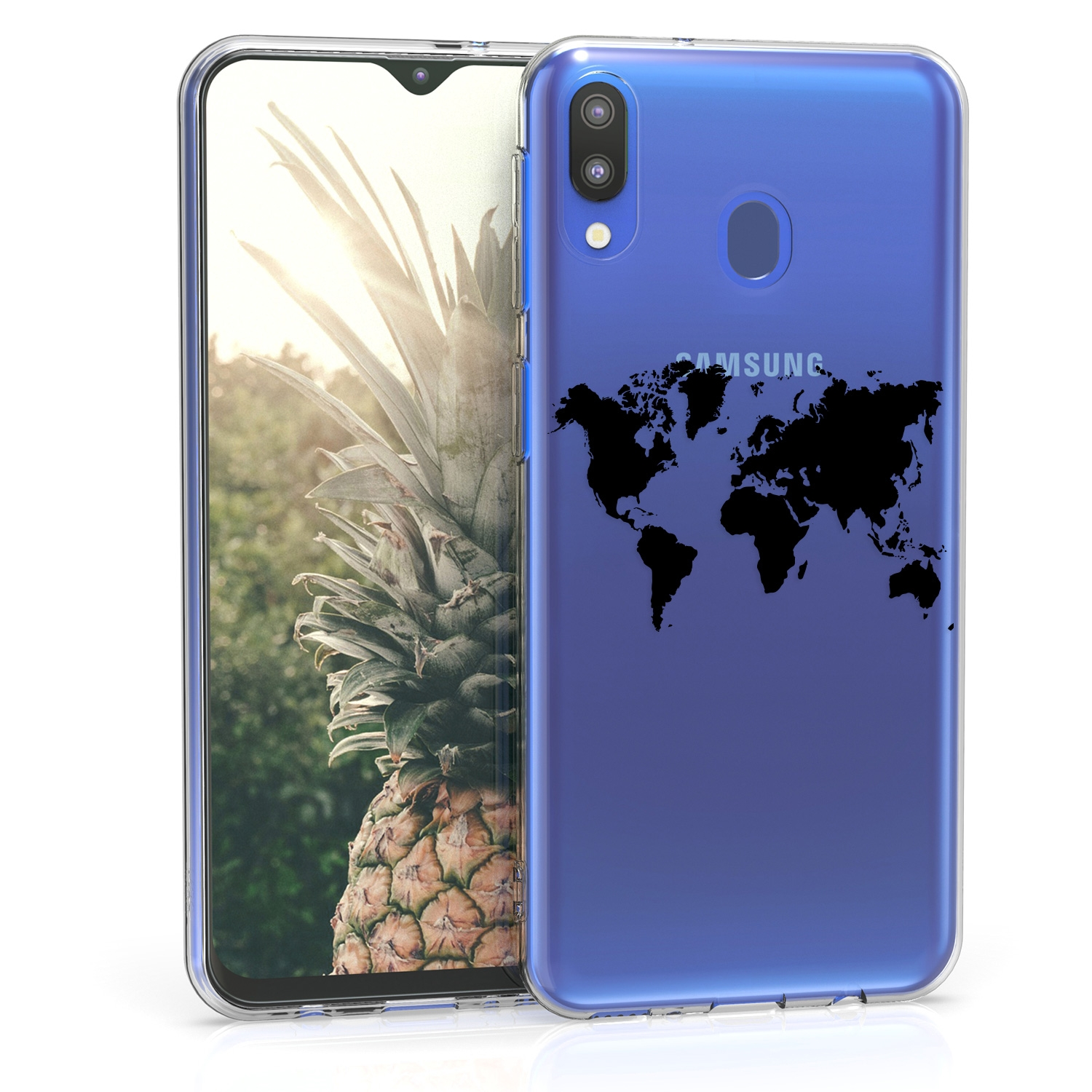 KW Θήκη Σιλικόνης Samsung Galaxy M20 (2019) - Black / Transparent (48312.02)