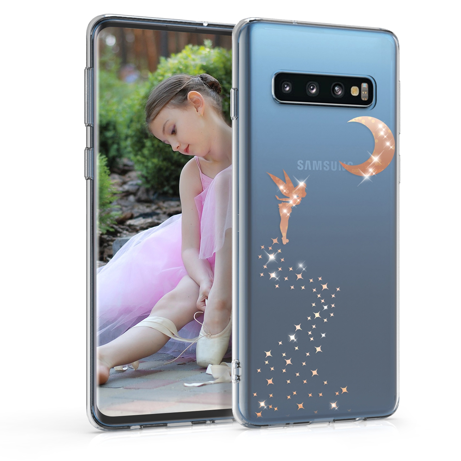 KW Θήκη Σιλικόνης  Samsung Galaxy S10 - Rose Gold / Transparent (47449.01)