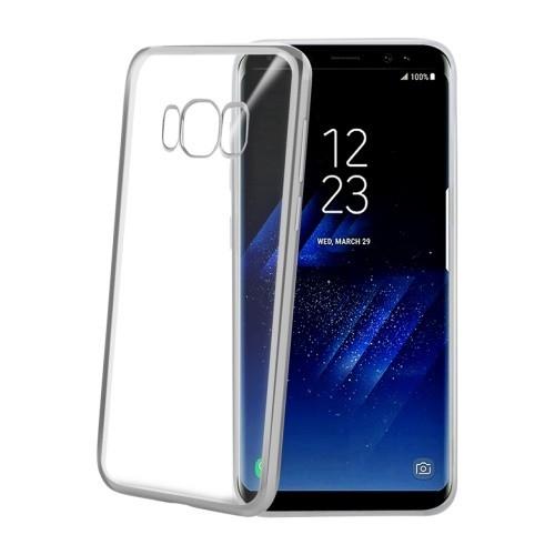 Celly Διάφανη Θήκη Σιλικόνης Samsung Galaxy S8 με Ασημί Bumper - Silver / Transparent (LASER690SV)