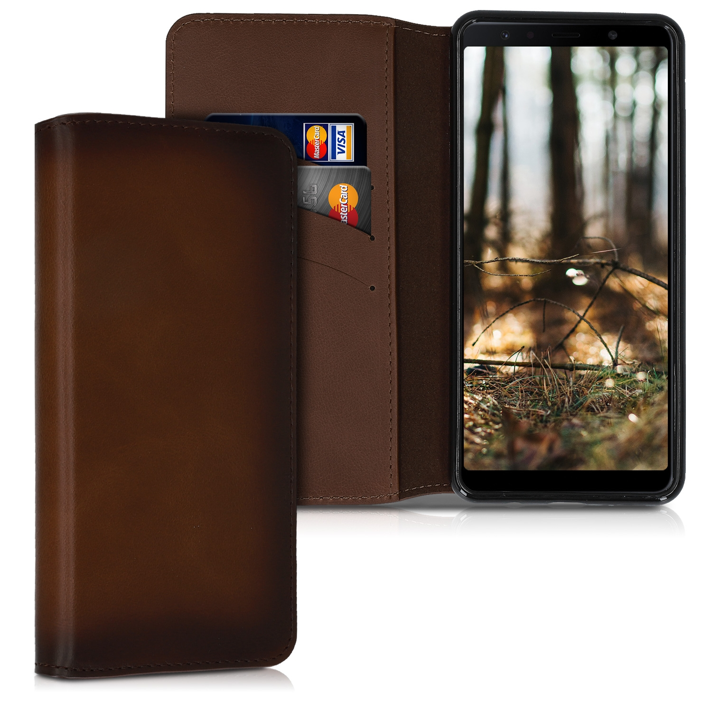 Kalibri Δερμάτινη Θήκη - Πορτοφόλι Samsung Galaxy A7 2018 - Vintage Brown (48272.133)