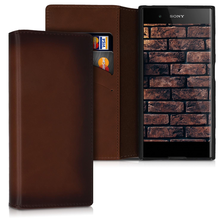 Kalibri Δερμάτινη Θήκη - Πορτοφόλι Sony Xperia XA1 Plus - Vintage Brown (48334.133)
