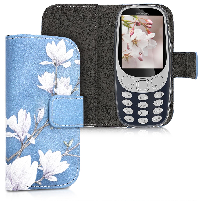KW Θήκη - Πορτοφόλι Nokia 3310 3G 2017 / 4G 2018 - Blue / White Magnolia (45848.01)