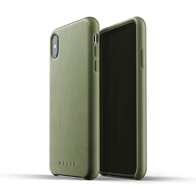 MUJJO Full Leather Case - Δερμάτινη Θήκη iPhone XS Max - Olive (mujjo-cs-103-ol)