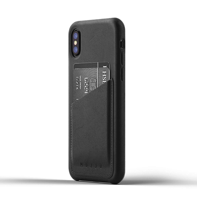 MUJJO Full Leather Wallet Case - Δερμάτινη Θήκη-Πορτοφόλι iPhone X/XS - Black (mujjo-cs-092-bk)