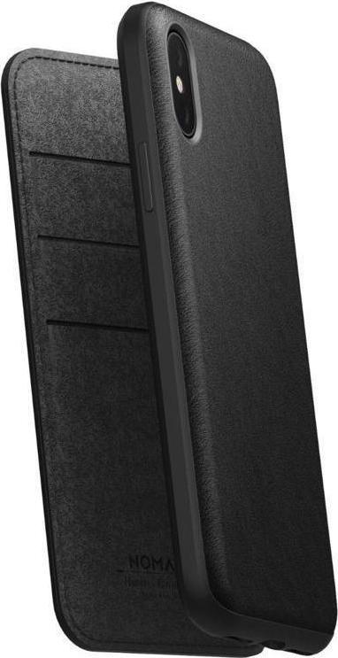 Nomad Δερμάτινη Rugged Folio Θήκη - Πορτοφόλι iPhone X/XS - Black (NM21F10H00)