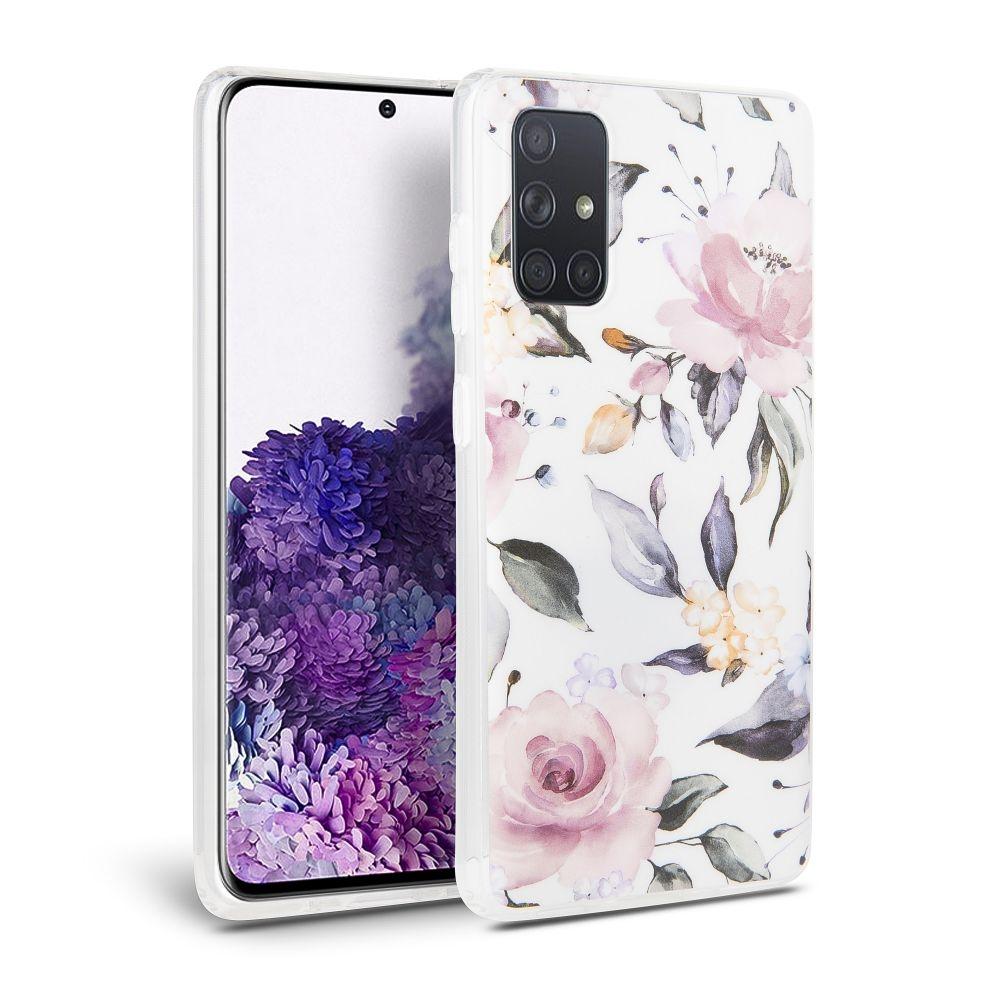Θήκη Σιλικόνης  Floral Galaxy Samsung Galaxy A51 - White (63037) - OEM