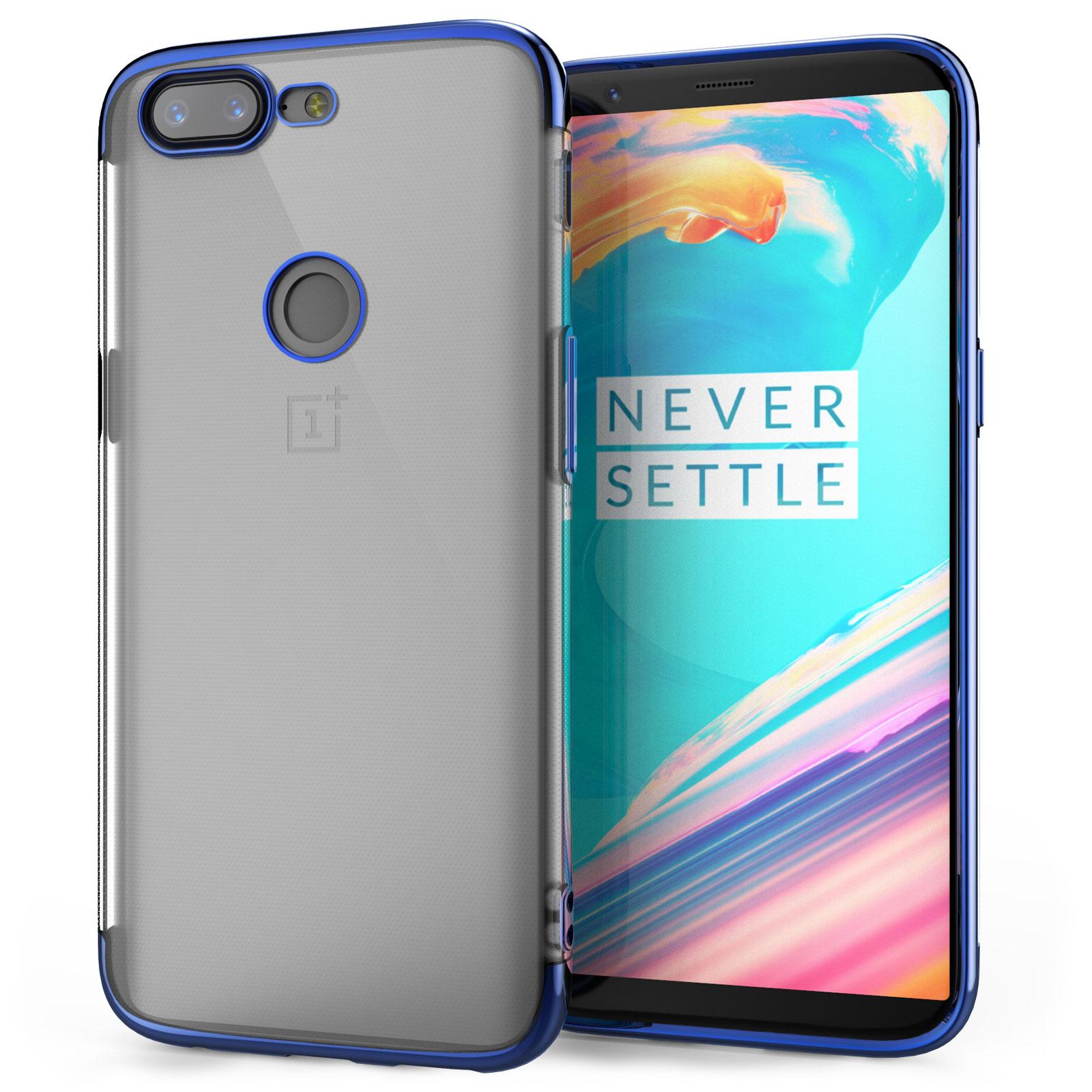 Caseflex Θήκη Σιλικόνης OnePlus 5T - Clear / Blue & Screen Protector (ONE-PLUS-Z409)