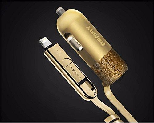 Remax 3 σε 1 Φορτιστής Αυτοκινήτου USB, microUSB & Lightning 3.4A - Gold (RCC-10 αξεσουάρ κινητών