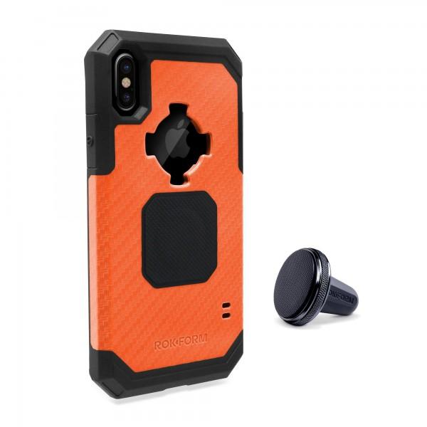 Rokform Rugged Θήκη iPhone X / XS με Μαγνητική Βάση Αυτοκινήτου - Orange (303754)