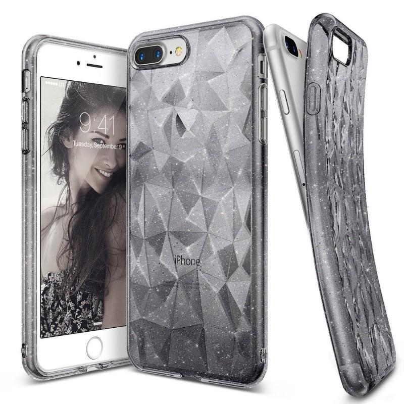 Ringke Air Prism Θήκη Σιλικόνης  iPhone 8 Plus / iPhone 7 Plus με Ανάγλυφο Σχέδιο + Screen Protector - Gray Glitter (11164)