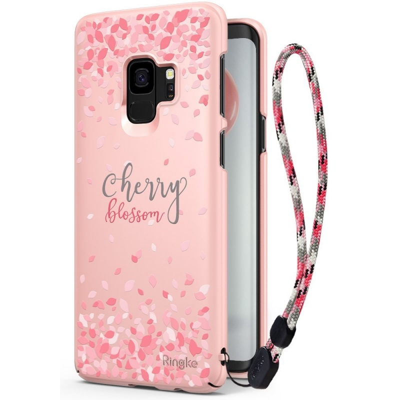 Ringke Slim Cherry Blossom Θήκη Samsung Galaxy S9  - Peach Pink + Strap (13010)