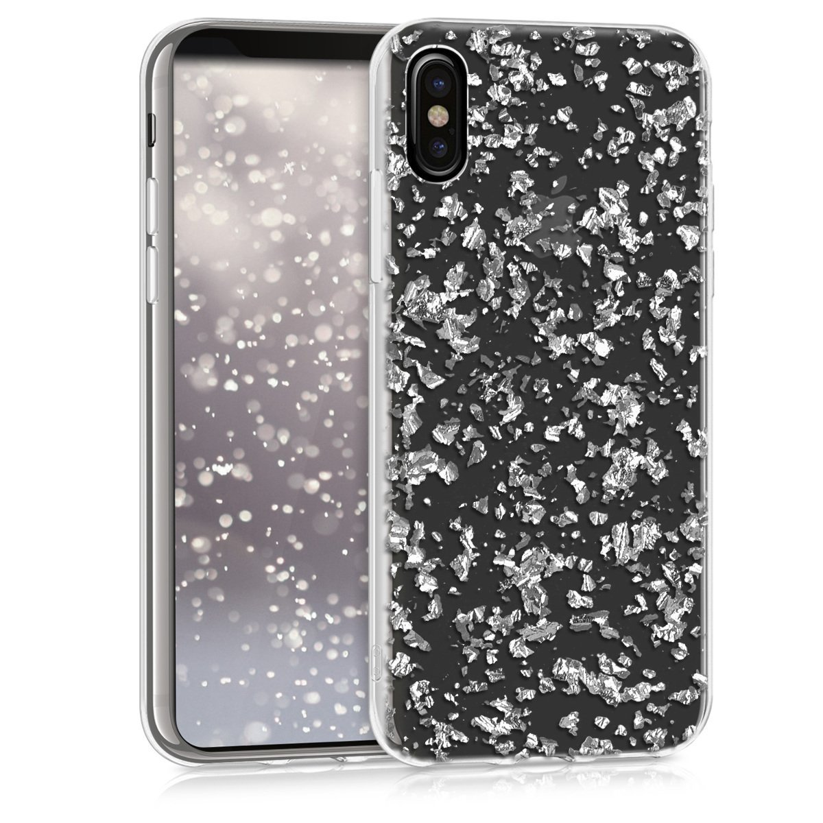 KW Θήκη Σιλικόνης iPhone X / XS - Silver Flakes (42494.35)