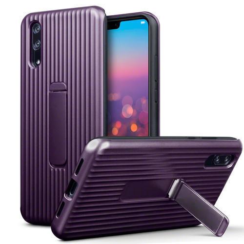 Terrapin Vertical Groove - Ανθεκτική Θήκη με Stand για Huawei P20 - Purple (131-083-064)