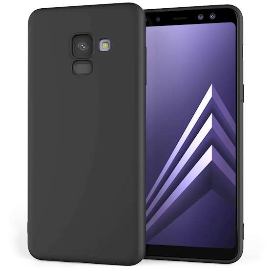 Caseflex Θήκη Σιλικόνης Samsung A8 Plus 2018 - Solid Black & Screen Protector (SA-EA10-Z324)