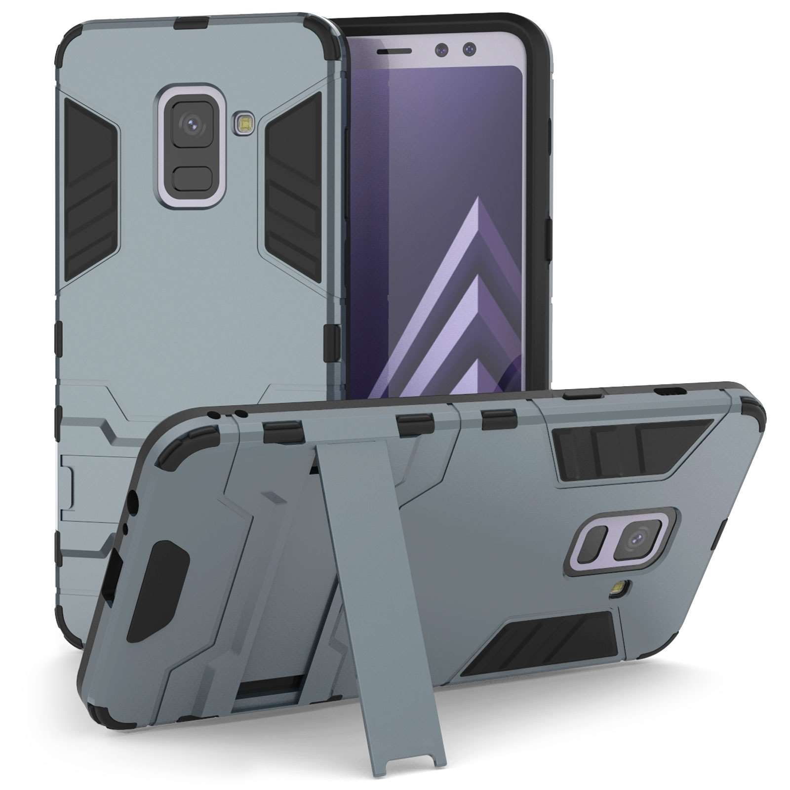 Caseflex Θήκη Armour Combo Stand Samsung A8 Plus 2018 - Steel Blue (SA-EA10-Z325)