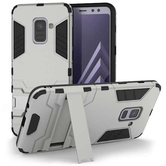Caseflex Θήκη Armour Combo Stand Samsung A8 Plus 2018 - Silver (SA-EA10-Z326)