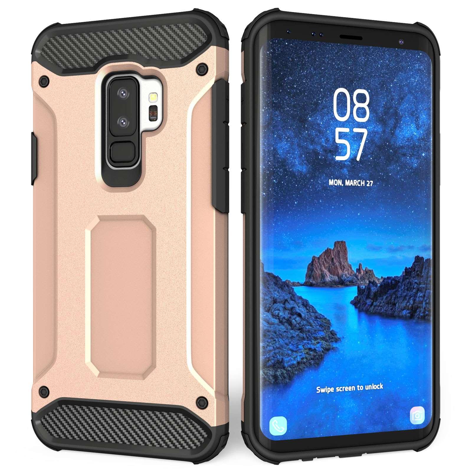 Caseflex Ανθεκτική Θήκη Armoured Shockproof Carbon Samsung Galaxy S9 Plus - Rose Gold (SA-EA10-Z714)