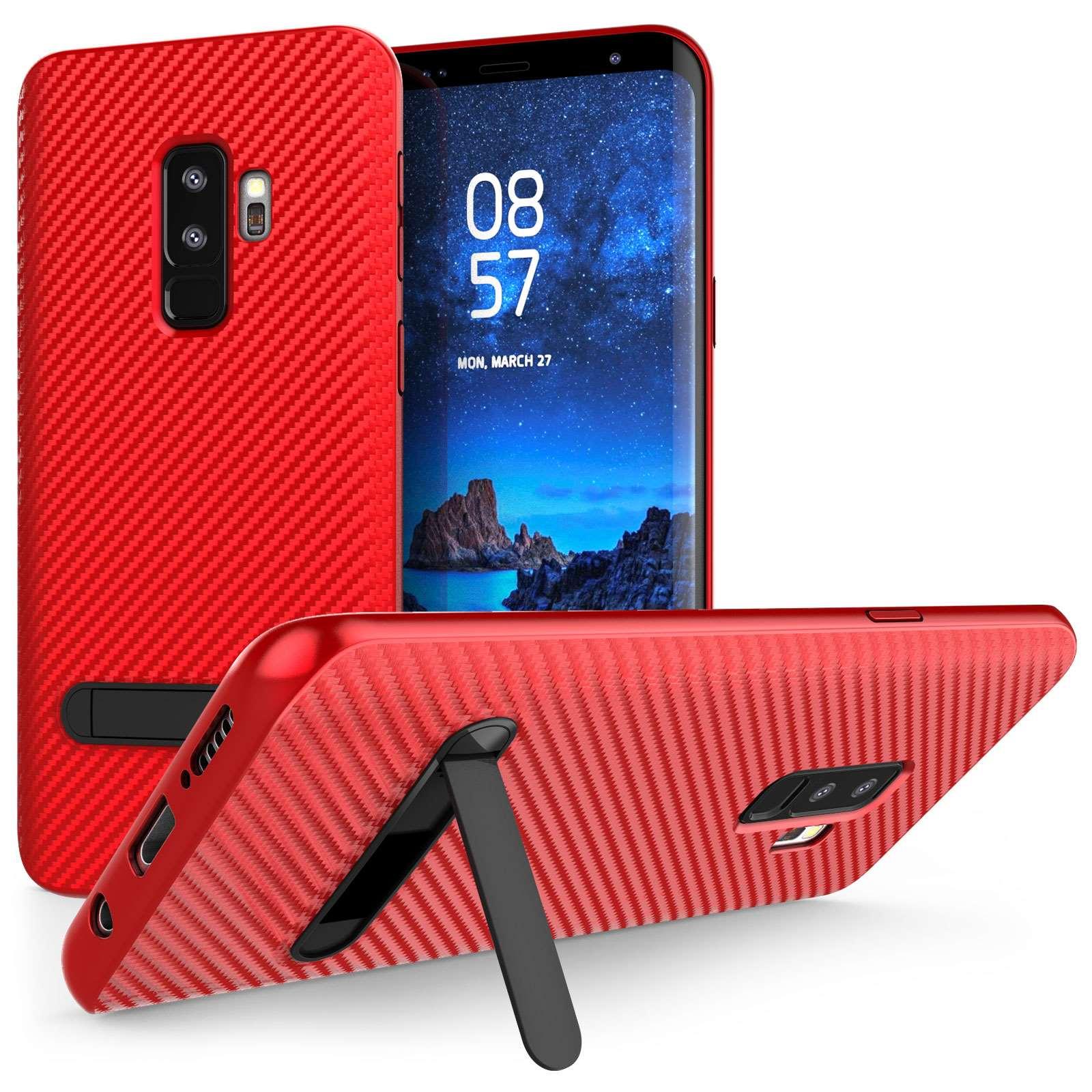 Caseflex Θήκη Σιλικόνης Carbon Fibre με Stand για Samsung Galaxy S9 Plus - Red (SA-EA10-Z746)