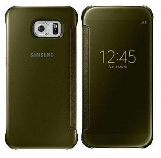 Official Samsung Clear View Cover Galaxy S6 Edge - Gold (EF-ZG925BFEGWW)