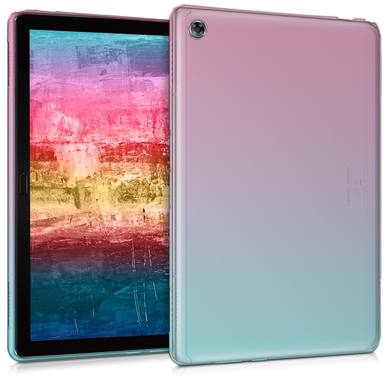 KW Θήκη Σιλικόνη Huawei MediaPad M5 Lite 10 - Soft Flexible Shock Absorbent Protective Cover - Dark Pink / Blue / Transparent (46676.02)