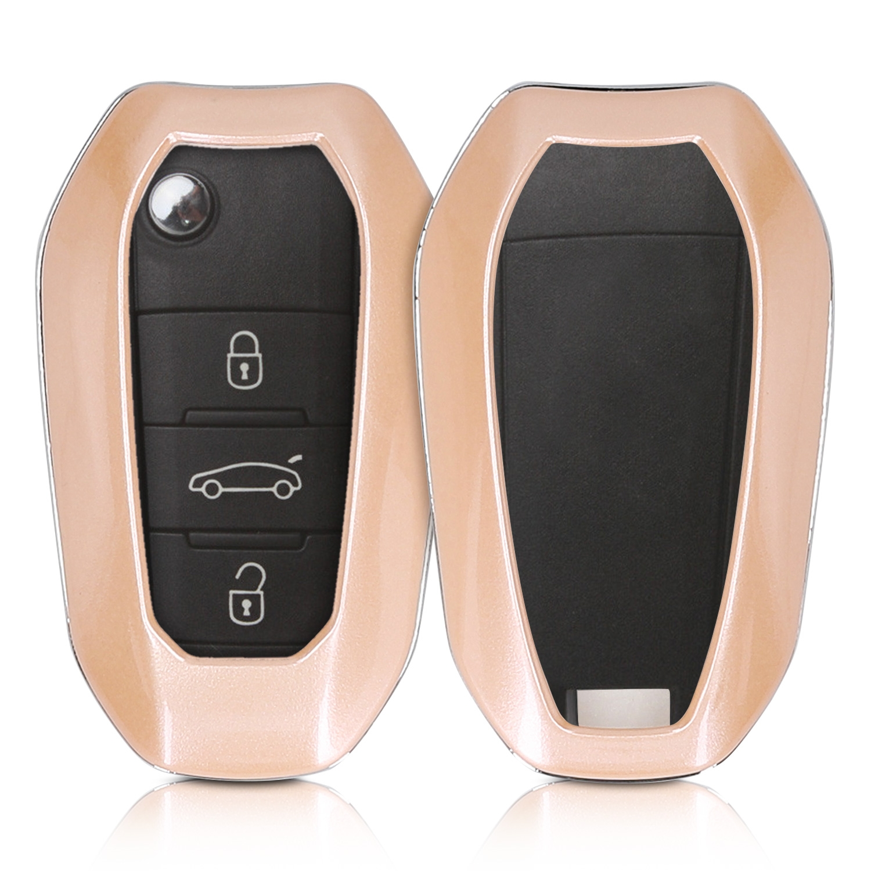 KW Σκληρή Θήκη Κλειδιού Peugeot Citroen - 3 Κουμπιά - Metallic Rose Gold (47869.31)
