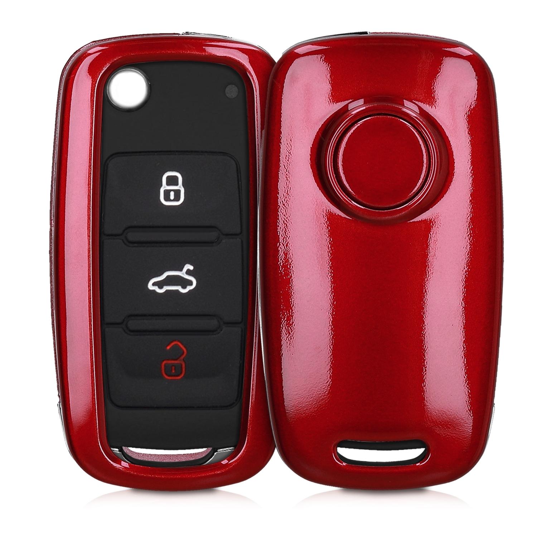 KW Σκληρή Θήκη Κλειδιού VW Skoda Seat - 3 Κουμπιά - Red High Gloss ( 47856.97)