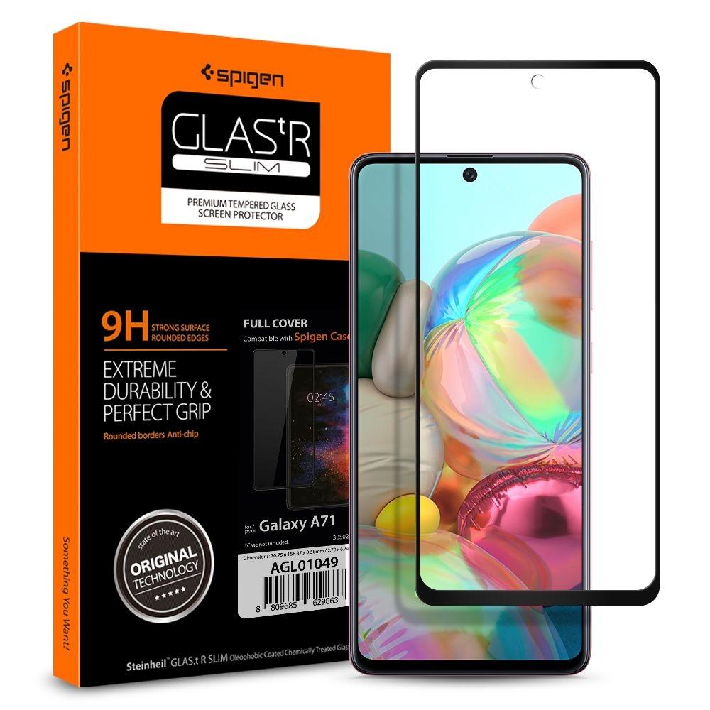 Spigen Fullface Tempered Glass Samsung Galaxy A71 GLAS.tR Slim - Black (AGL01049)