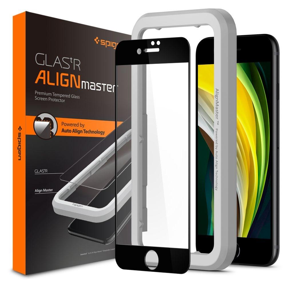 Spigen GLAS.tR ALIGNmaster - Αντιχαρακτικό Fullface Γυάλινο Screen Protector iPhone SE 2020 / 7 / 8 - Black (AGL01294)