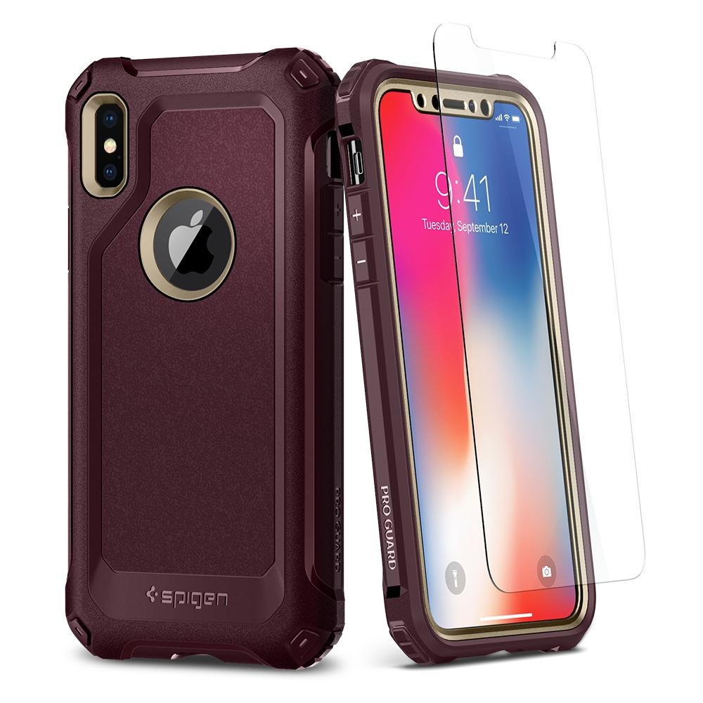 Spigen Θήκη Pro Guard iPhone X / XS 360° Full Coverage - Champagne Gold & Tempered Glass (057CS22700)