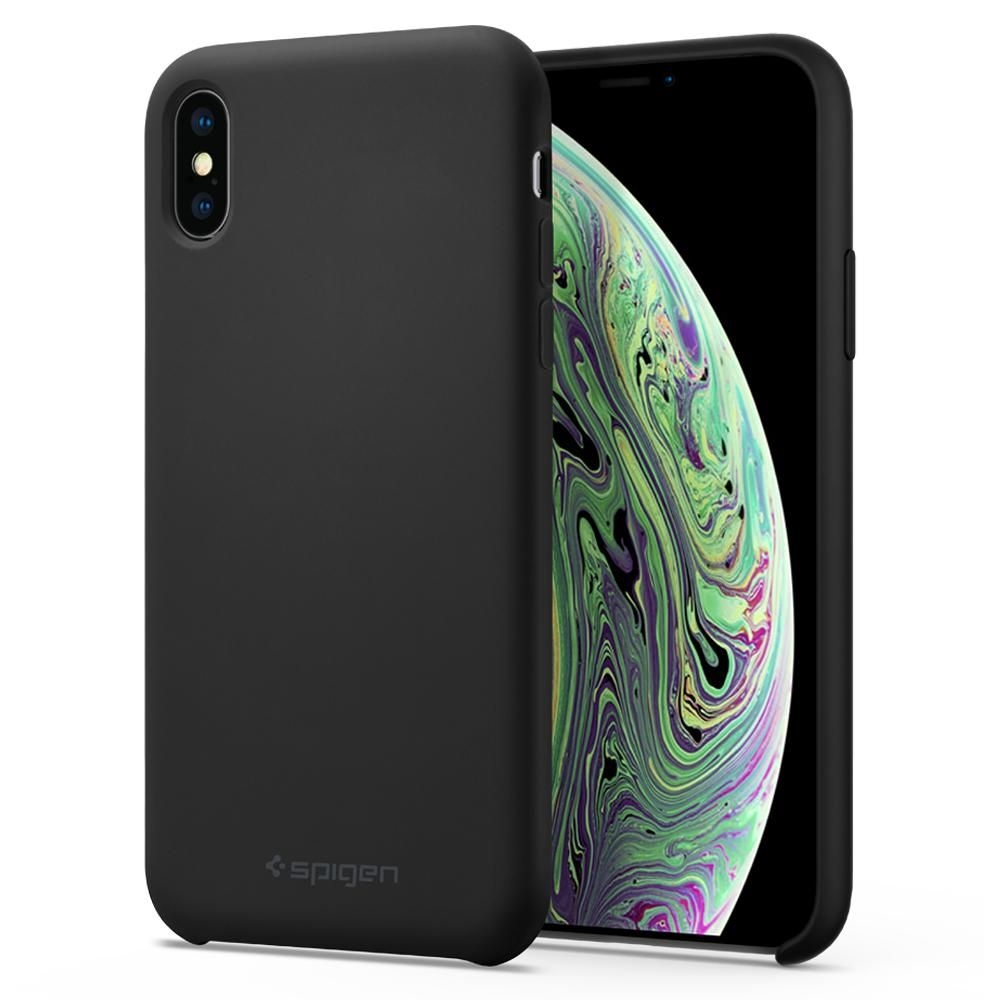 Spigen Silicone Fit - Θήκη iPhone X / XS - Black (063CS25651)