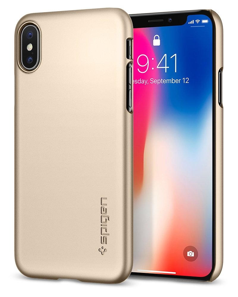 Spigen Θήκη Thin Fit iPhone X / XS - Champagne Gold (057CS22111)